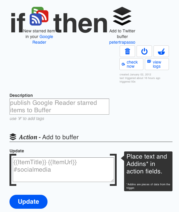 ifttt Google Reader to Buffer Recipe