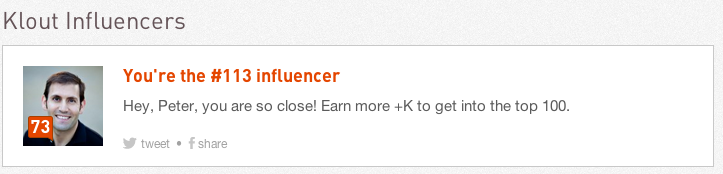 #113 Influencer on Klout and 73 Klout Score Peter Trapasso 11.12.12