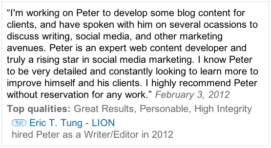 EricTTung LinkedIn Recommendation for Peter Trapasso