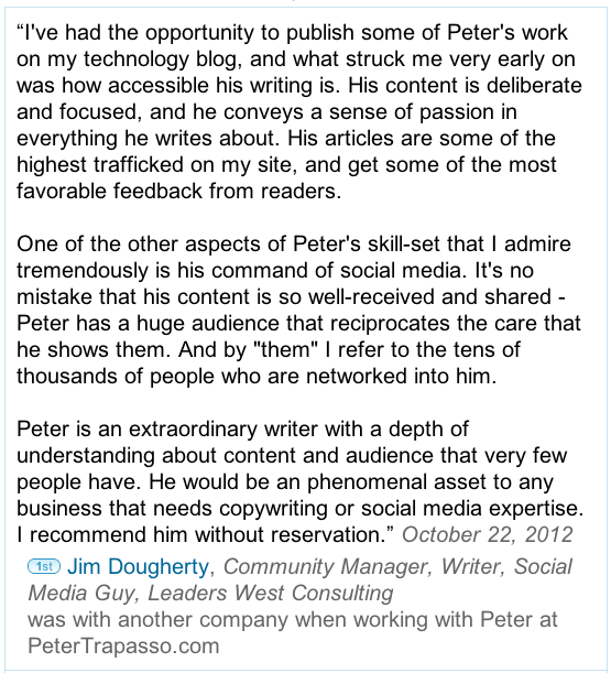 Jim Dougherty LinkedIn Recommendation for Peter Trapasso