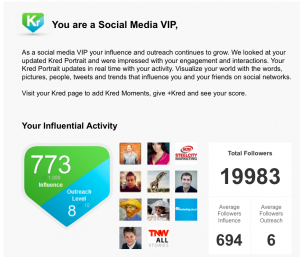 Kred Social Media VIP email from CEO for Peter Trapasso 11.15.12